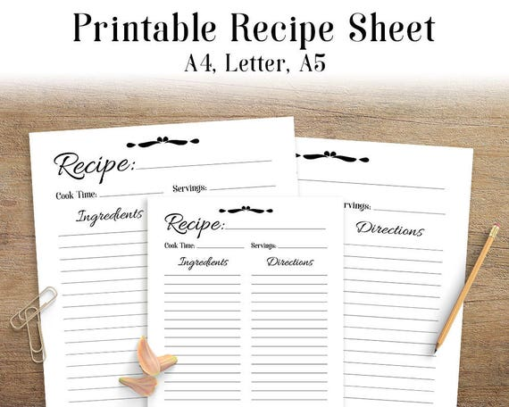 Recipe sheet printable recipe page template blank recipe for Free printable full page recipe templates