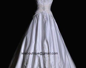 CM1046 Exquisit A-line Wedding Dress | Satin Wedding Dress | White Wedding Dress | Strapless Wedding Dress