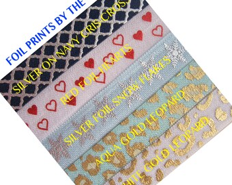 ON SALE FOIL - Printed Elastic From 1 - 10 yards - Choose colors and length - foil print elastic for headbands and hair ties