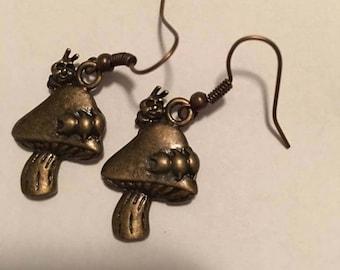 Steampunk Inspired Victorian Style Caterpillar on Mushroom Dangle Earrings, Steampunk Inspired