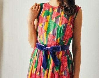 ON SALE - Vintage Malcolm Starr Print Dress