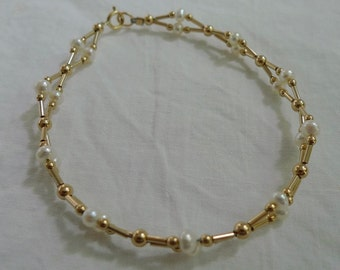 Freshwater Pearl Woven Gold-Filled Bracelet