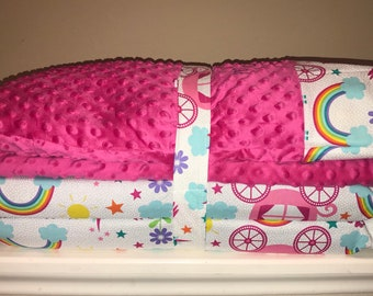 Michael Miller Happy tones Rainbows kindermat Cover with Pillow, Minky blanket and monogram