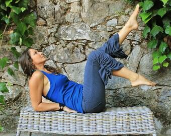 Cinchy Pants-womens capri pants-wide leg pants-gray pants-wide leg capri-womens capri-tribal hooping pants-unique yoga wear-pixie yoga capri