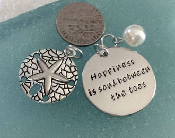 """6 - Happiness is Sand Between the Toes """" 3 piece charm pendant sets, beach charms, Sand dollar charm, Faux Pearl, beach necklace"""