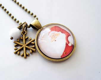 Santa Necklace - Santa Claus Christmas Jewelry - St Nicholas Holiday Pendant - Holiday Gift - Christmas Necklace - Jolly Old St Nick Winter