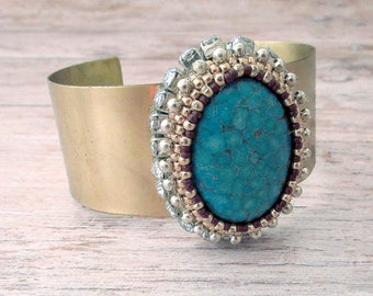 Gold Adjustable Gemstone Cuff Bracelet - Adjustable Cuff for Women - Gifts for Her - Gold Bracelet - Faux Stone Cuff - Chunky Boho Jewelry