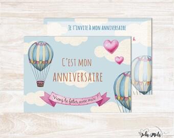 Kit Invitation anniversaire enfant à compléter - Thème montgolfière
