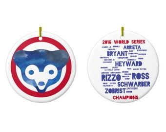 Double Sided Chicago Cubs World Series Ornament