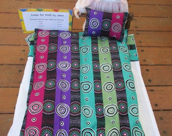 Doll's doona set with aboriginal style fabric (free postage in Australia)