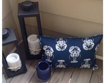 Outdoor pillow - lobster pillow - outdoor patio pillow - navy outdoor pillow - beach pillow - home decor pillow