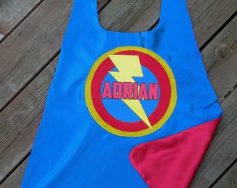 Boys Personalized Superhero Cape with full name - Quick Shipping - Customized boy birthday present - Superhero Party