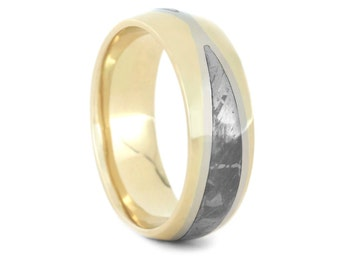 Partial Meteorite Wedding Band For Men, Two Tone Ring With 10k Yellow Gold And White Gold