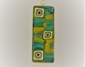 Mosaic stained glass and millefiori pendant