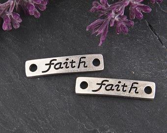 Faith, Silver Stamped Quote Rectangular Bracelet Link, Quote Connectors, 2 pieces // SC-206