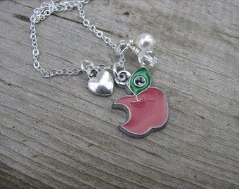 Teacher's Necklace, Gift for Teacher, Red Apple, Silver Heart, crystal and pearl - End of School Year Teacher Gift