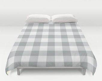 Plaid Gingham Duvet Cover, cabin bedroom decor, grey queen duvet cover, gray king duvet cover, queen size duvet covers