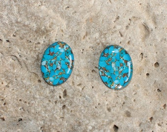 2 cabochon 13 X 18 mm resin mohave turquoise print