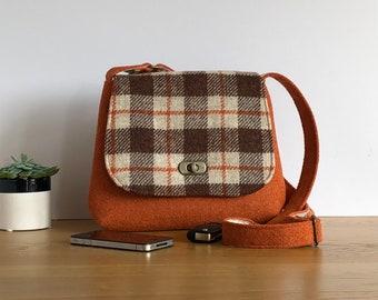 Harris Tweed shoulder bag - Messenger bag - small cross body bag - wool purse - orange wool bag - gift for her - wool Anniversary gift
