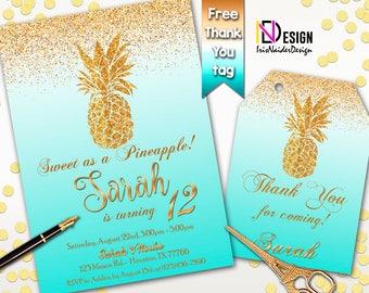 Pineapple Invitation FREE thank you tag, Aloha Invitation, Hawaiian Birthday invitation, Pineapple Birthday invitation, turquoise pineapple