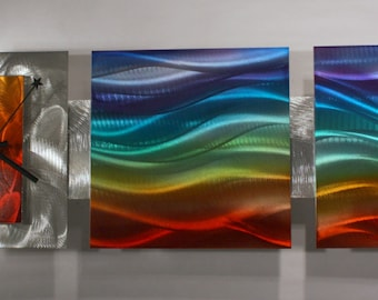 Clock Modern Abstract Metal Wall Art Rainbow Sculpture Home Decor By Wilmos Kovacs - W922