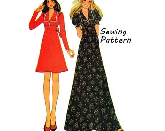 McCall's 3799 Junior/Teen Empire Waist Maxi or Midi One Piece Dress Sewing Pattern Size 7 Bust 31in /79cm Vintage 1970s