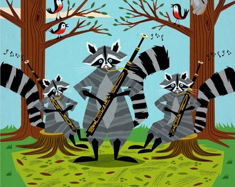 Raccoons Playing Bassoons - Raccoon / Music - Children's Animal Art Print by Oliver Lake - iOTA iLLUSTRATION