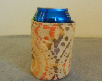 Insulated Can Cooler - Orange and Brown Batik