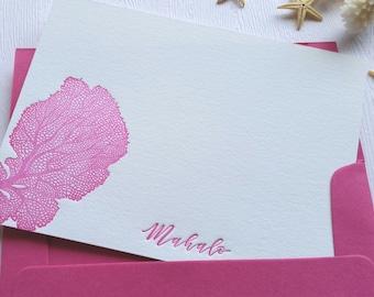 Fan Coral Letterpress Cards Magenta Fuchsia Aloha Mahalo