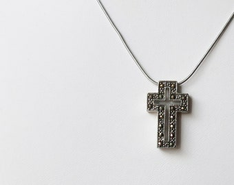 Sterling silver and marcasite cross pendant