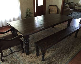 Dark Walnut Stained English Cottage Farm Table