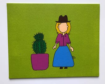 Large Cowgirl and Cactus Painting, 8x10