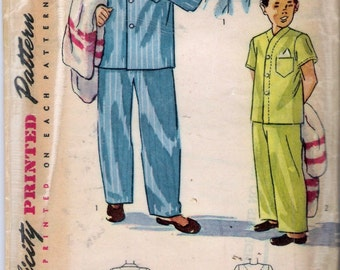 """Vintage 1948 Simplicity 2541 Boy's Pajamas 2 Styles Sewing Pattern Size 6 Chest 24"""""""