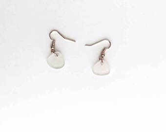 Genuine Frosted Clear Sea Glass Earrings on Rose Gold French Hooks
