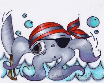 149 Pirate Octopus Digi Stamp