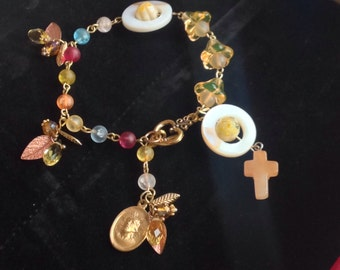 HEY MARY Peace Beads Limited Edition by TR Jackson 10k gf stamped vintage medal deluxe gem rosary cross quartze Czech Crystal & keepsake box