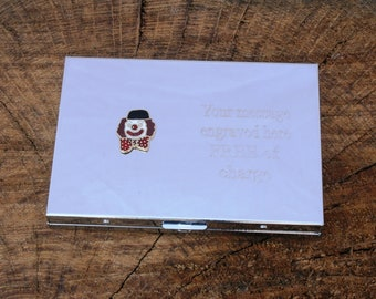 Clown Pocket Calculator Credit/Business Card Holder Case FREE ENGRAVING Clown Gift