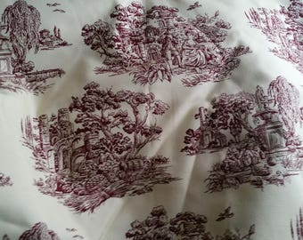 Maddison 5th Avenue Colonial Red Toile Victorian Fabric by 1/2 yard