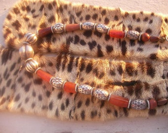 Necklace ethnic carnelian beads silver