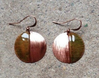 Torched Copper and Enamel Earrings
