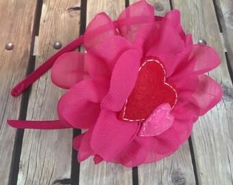 Valentines headband, red and pink headband, heart headband, baby headband, infant headband, valentines day headband, valentines day, pink
