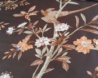 Parrots, birds, fabric Brown fabric, cotton sateen fabric, fabric charles burger, nadège fabrics sold by the yard only