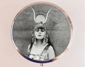 Cleopatra Theda Bara Pill Box Case Pillbox Holder Trinket Stash Box Art Deco Egyptian Vamp Silent Film Version 2