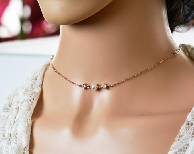 Rose gold Crystal choker and Swarovski pearl, Necklace, personalised jewellery, Silver, gold, Dainty necklace, wedding bridal, brides,