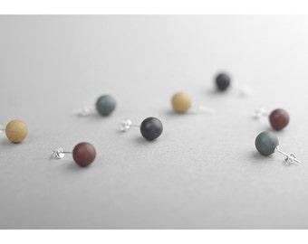 Clay pearl  stud earrings, Ceramic earrings Pearl stud earrings Black earrings Yellow earrings Everyday earrings Birthday gift-boohua