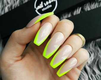 YELLOW FLUO FRENCH nude press on nails | green fluo | wicca false glue on nails | glossy and long pop on | coffin stiletto ballerina