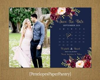 Elegant Navy Photo Save The Date Calendar Card,Burgundy,Blush,Marsala,Roses,Gold Print,Shimmery,Personalize,Printed Cards,Envelopes