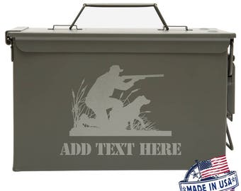 Personalized Ammo Can Box Mens Gifts Father's Day Gift Ideas Duck Hunter with Labrador, Duck Hunting Dog, hunter and dog
