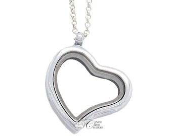 "Floating Locket • Heart • Magnetic • Memory Necklace • Includes 19"" Chain - LOC13"