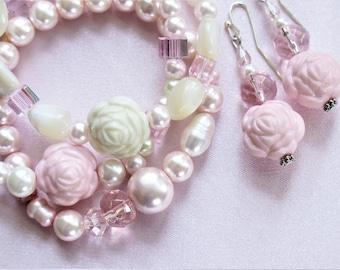 Pink Pearl bracelet, Pink Rose bracelet, mother of pearl bracelet, 3 stretch bracelets with earring set  #1005BE